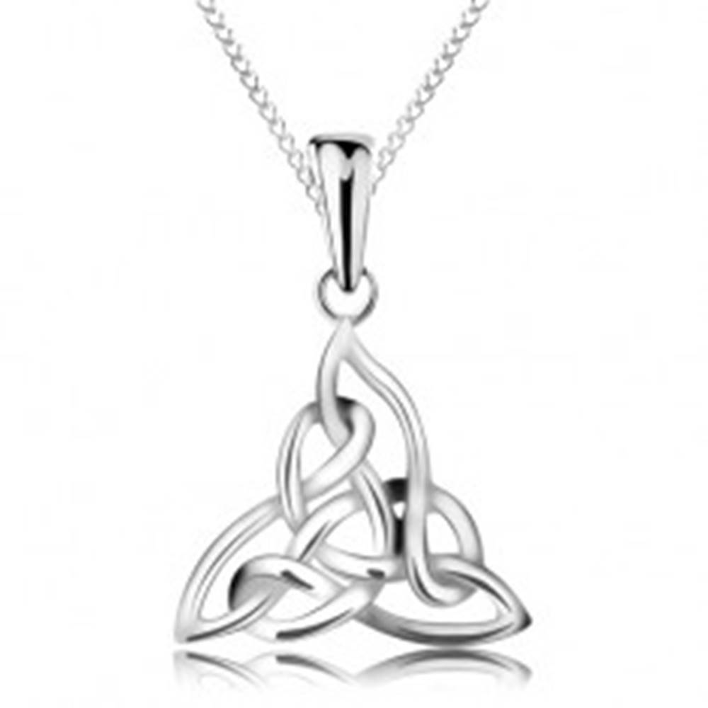 Šperky eshop Strieborný náhrdelník 925, trojcípy keltský uzol, retiazka z elipsovitých očiek