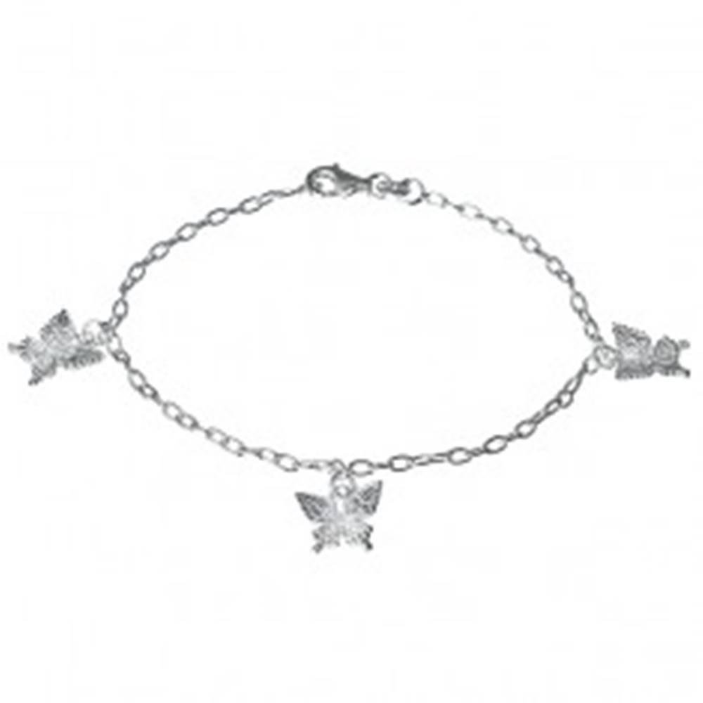 Šperky eshop Strieborný náramok - gravírované motýle na retiazke, striebro 925