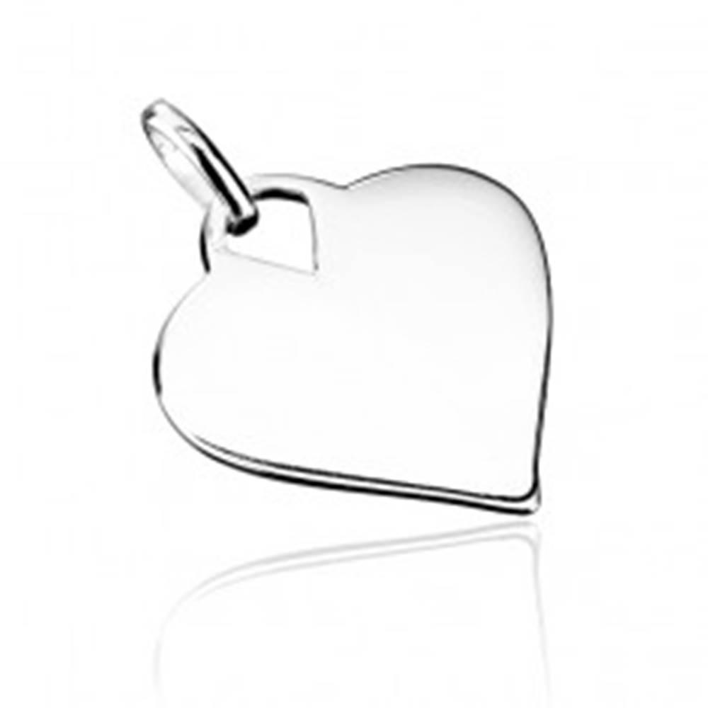 Šperky eshop Strieborný prívesok 925 - hladké lesklé srdce