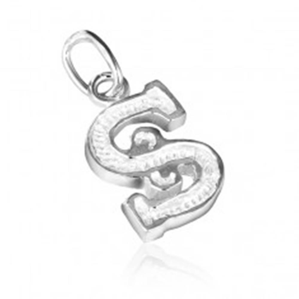 Šperky eshop Strieborný prívesok 925 - písmeno S s vrúbkovaním