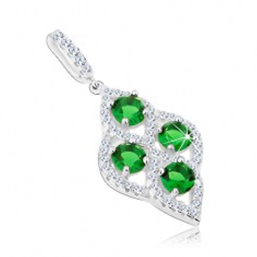 Šperky eshop Strieborný prívesok 925, štyri zelené zirkóny, číra obruba - oblý kosoštvorec