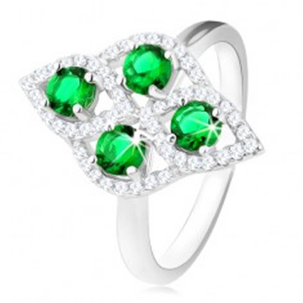 Šperky eshop Strieborný prsteň 925, oblý kosoštvorec, štyri okrúhle zelené zirkóny, číry lem - Veľkosť: 49 mm