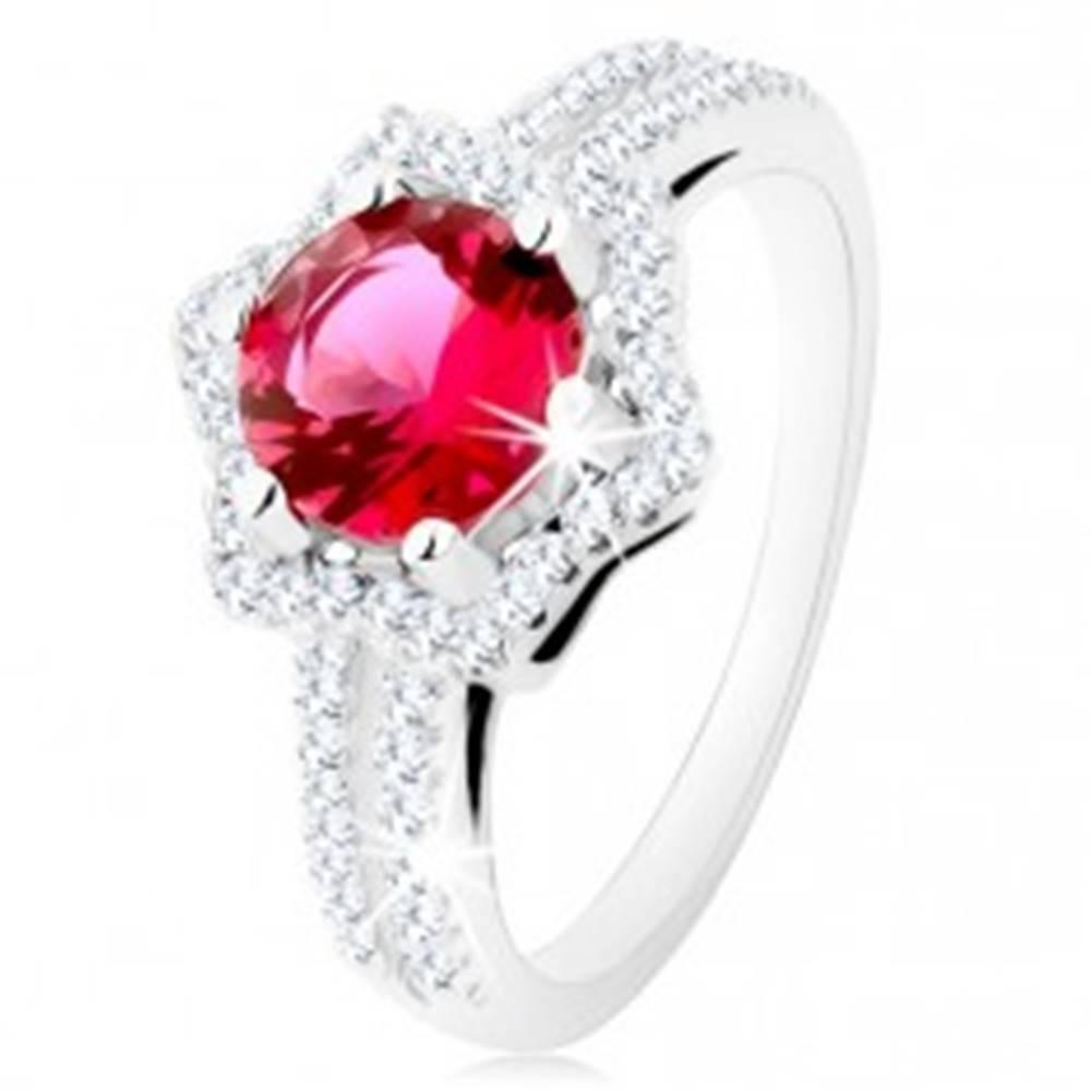 Šperky eshop Strieborný prsteň 925, rozdvojené ramená, hviezdičková kontúra, ružový zirkón - Veľkosť: 49 mm
