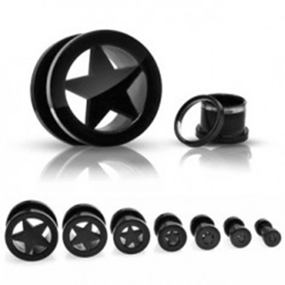 Šperky eshop Tunnel do ucha z titánu, anodizovaný, s hviezdou v strede, čierny so šrubovaním - Hrúbka: 10 mm