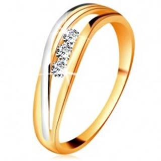 Briliantový prsteň zo 14K zlata, zvlnené dvojfarebné línie ramien, tri číre diamanty - Veľkosť: 49 mm