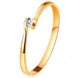 Briliantový prsteň zo žltého 14K zlata - diamant v kotlíku medzi zúženými ramenami - Veľkosť: 49 mm
