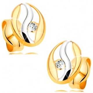 Diamantové náušnice v 14K zlate - obrys oválu s vlnkou z bieleho zlata, briliant