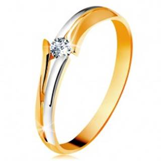 Diamantový zlatý prsteň 585, žiarivý číry briliant, rozdelené dvojfarebné ramená - Veľkosť: 49 mm