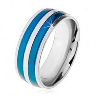 Dvojfarebný oceľový prsteň, tenké pásy v modrom a striebornom odtieni, zárezy, 8 mm - Veľkosť: 57 mm