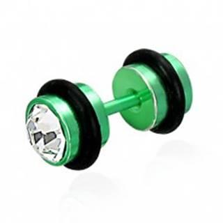 Falošný piercing zelený so zirkónmi