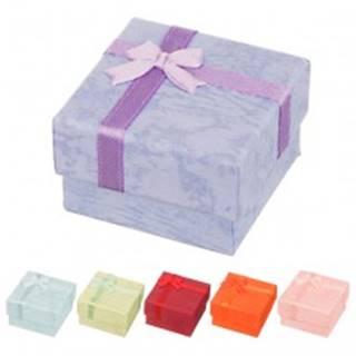 Krabička na náušnice - mramorované pastelové odtiene s mašličkou - Farba: Červená