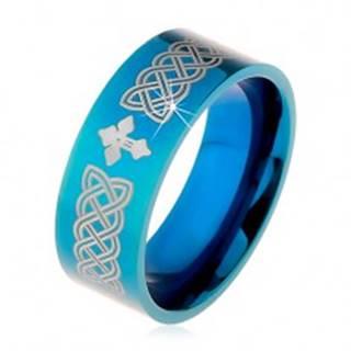 Lesklá obrúčka z ocele 316L, modrá farba, keltské symboly a kríž, 8 mm - Veľkosť: 57 mm