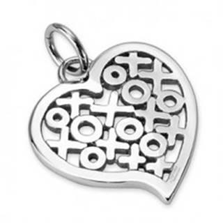 Lesklý oceľový prívesok - srdce so vzorom kruhov a krížikov