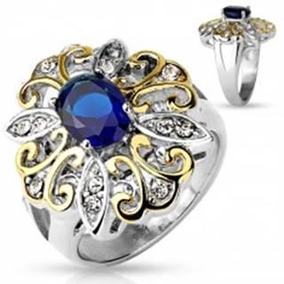 Mohutný prsteň z ocele 316L, veľký dvojfarebný kvet, tmavomodrý oválny zirkón - Veľkosť: 51 mm