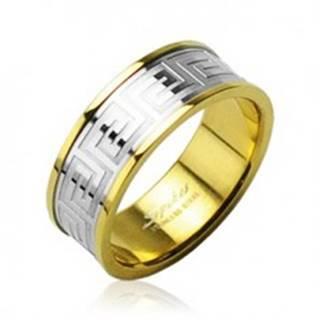 Obrúčka z chirurgickej ocele zlatej farby so stredovým pruhom striebornej farby - Veľkosť: 49 mm