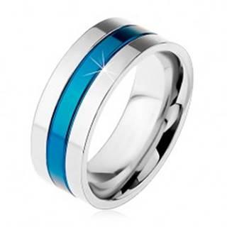 Obrúčka z ocele 316L, modrý stredový pás, okraje striebornej farby, zárezy, 8 mm - Veľkosť: 57 mm
