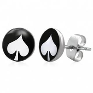 Oceľové náušnice, čierny kruh s bielou kartovou pikou