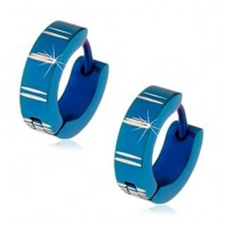 Oceľové náušnice s kĺbovým zapínaním, modré krúžky so zárezmi
