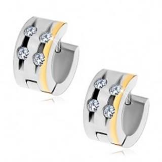 Oceľové náušnice so štyrmi čírymi zirkónmi v zárezoch a pásom zlatej farby