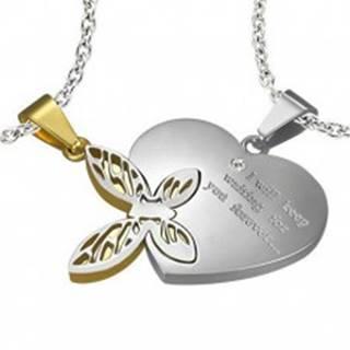 Oceľový dvojprívesok, strieborná a zlatá farba, srdce s nápisom, motýlik s výrezmi