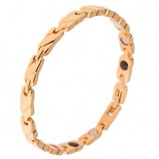 Oceľový náramok zlatej farby, články s vyvýšeným šikmým pásom, magnety