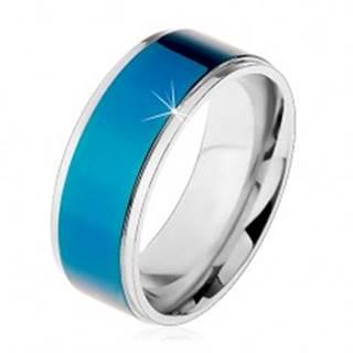 Oceľový prsteň, tmavomodrý pruh, lemy striebornej farby, vysoký lesk, 8 mm - Veľkosť: 57 mm