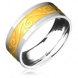 Oceľový prsteň - zlato-striebornej farby s motívom špirál vo vlnke - Veľkosť: 57 mm