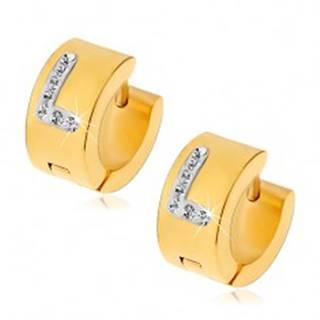 Okrúhle náušnice z chirurgickej ocele zlatej farby, písmeno L s čírymi zirkónmi
