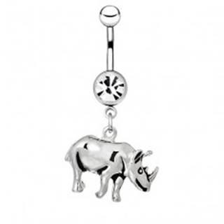 Piercing do pupku z ocele - lesklý nosorožec s patinou
