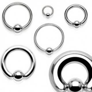 Oceľový piercing - krúžok a gulička striebornej farby, hrúbka 1,6 mm - Rozmer: 1,2 mm x 10 mm x 4 mm