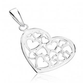 Prívesok zo striebra 925 - lesklé srdce s vyrezávaným vzorom