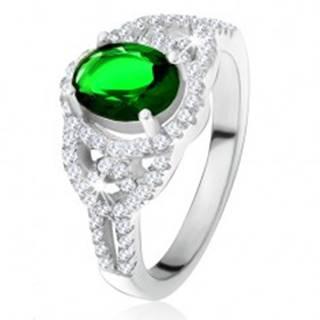 Prsteň - oválny zelený zirkón, lem, zaoblené línie, číre kamienky, striebro 925 - Veľkosť: 49 mm
