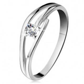 Prsteň z bieleho zlata 585 s trblietavým diamantom, rozdelené zvlnené ramená - Veľkosť: 49 mm