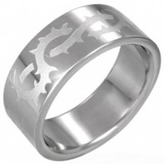 Prsteň z chirurgickej ocele s matným ostnatým drôtom - Veľkosť: 54 mm