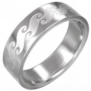 Prsteň z chirurgickej ocele s matnými vlnami - Veľkosť: 54 mm
