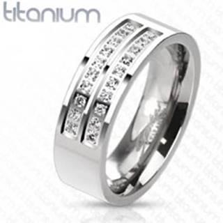 Prsteň z titánu v striebornom odtieni s líniami čírych zirkónov, 7 mm - Veľkosť: 57 mm