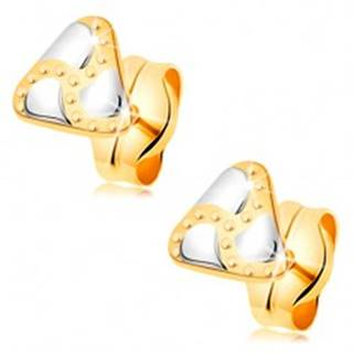 Puzetové náušnice, kombinované 14K zlato - trojuholník, slzičky a gravírované bodky