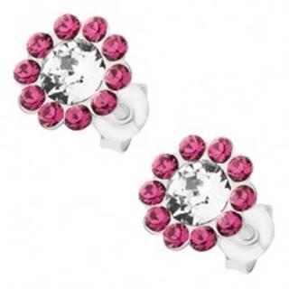 Strieborné náušnice 925, ligotavý kvet z čírych a ružových Preciosa krištáľov