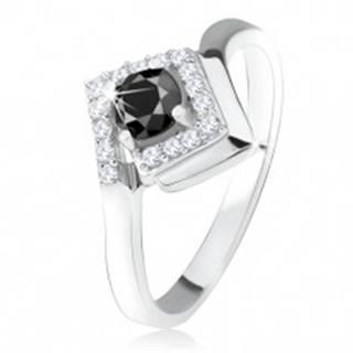 Strieborný 925 prsteň, okrúhly čierny kamienok v zirkónovom kosoštvorci - Veľkosť: 49 mm