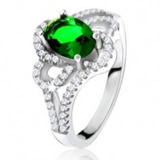 Strieborný 925 prsteň, šikmý oválny zelený zirkón, zaoblené línie, číre kamienky - Veľkosť: 50 mm