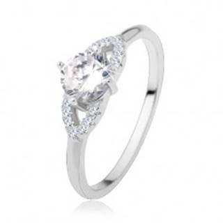 Strieborný prsteň 925, lesklé ramená, číry zirkón, trblietavá kontúra - zrnko - Veľkosť: 48 mm