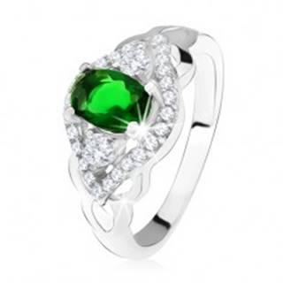 Strieborný prsteň 925, tmavozelený kameň, lem z čírych zirkónov, tvar oka - Veľkosť: 50 mm
