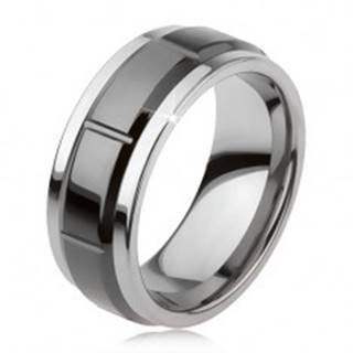 Tungstenový prsteň so zárezmi, strieborná farba, lesklý čierny povrch - Veľkosť: 49 mm