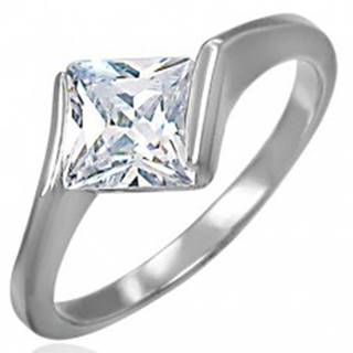 Zásnubný oceľový prsteň s kosoštvorcovým zirkónom čírej farby - Veľkosť: 49 mm