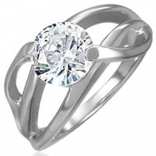 Zásnubný prsteň s priečnym úchytom a okrúhlym čírym zirkónom, oceľ 316L - Veľkosť: 49 mm