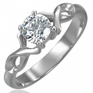 Zásnubný prsteň so zirkónom s dvojitou oceľovou stužkou - Veľkosť: 49 mm