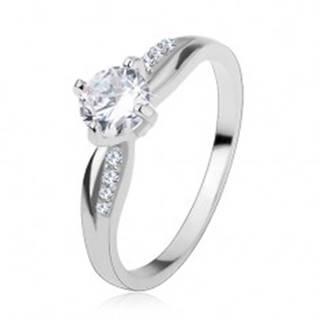 Zásnubný prsteň, striebro 925, hladká a zirkónová línia, ligotavý číry zirkón - Veľkosť: 48 mm