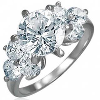 Zásnubný prsteň z ocele 316L - žiarivé okrúhle zirkóny čírej farby - Veľkosť: 49 mm
