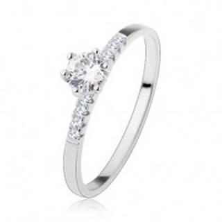 Zásnubný strieborný prsteň 925, okrúhly číry zirkón, ligotavé línie na ramenách - Veľkosť: 48 mm