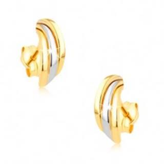Zlaté ródiované náušnice 375, tri lesklé dvojfarebné poloblúky